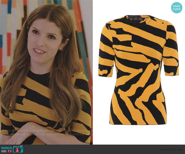 Zebra-jacquard sweater by Proenza Schouler worn by Darby (Anna Kendrick) on Love Life