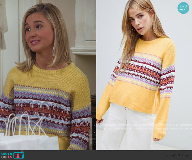 Fairisle Panel Stripe Sweater by Pull & Bear worn by Katie Cooper (Isabel May) on Alexa & Katie