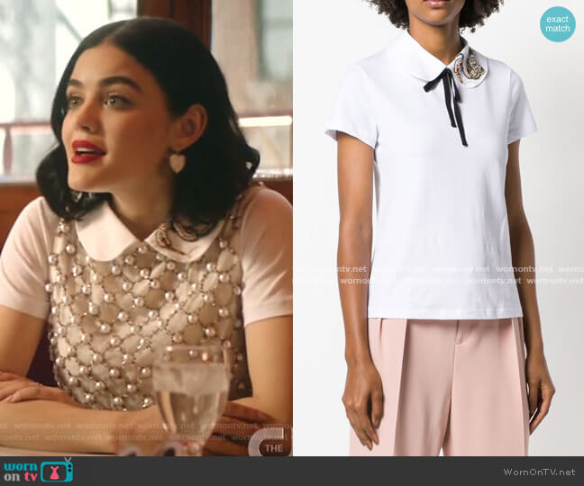 Embellished Collar Polo Top by RED Valentino worn by Katy Keene (Lucy Hale) on Katy Keene