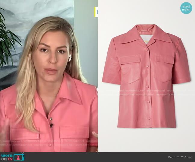 Siena Leather Shirt by Remain Birger Christensen worn by Morgan Stewart  on E! News