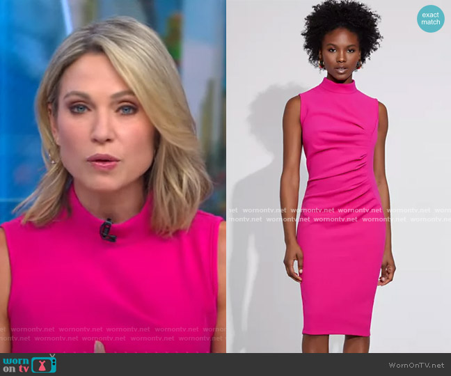 Ruched Sheath Dress - Gabrielle Union Collection by New York & Company worn by Amy Robach  on Good Morning America