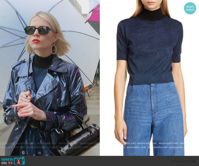 Crop Knit Tee by Rachel Comey worn by Astrid (Lucy Boynton) on The Politician