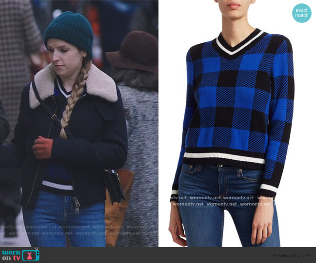 Gabby Buffalo Check V-Neck Sweater by Rag & Bone worn by Darby (Anna Kendrick) on Love Life