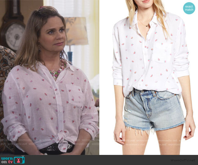 Charil Watermelon print shirt by Rails worn by Kimmy Gibbler (Andrea Barber) on Fuller House