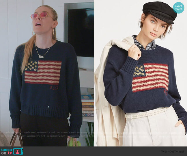 USA Flag Intarsia Knit Sweater by Ralph Lauren worn by Leah McSweeney  on The Real Housewives of New York City