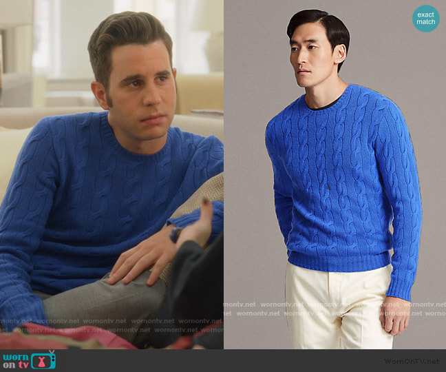 Cable-Knit Cashmere Sweater by Ralph Lauren worn by Payton Hobart (Ben Platt) on The Politician