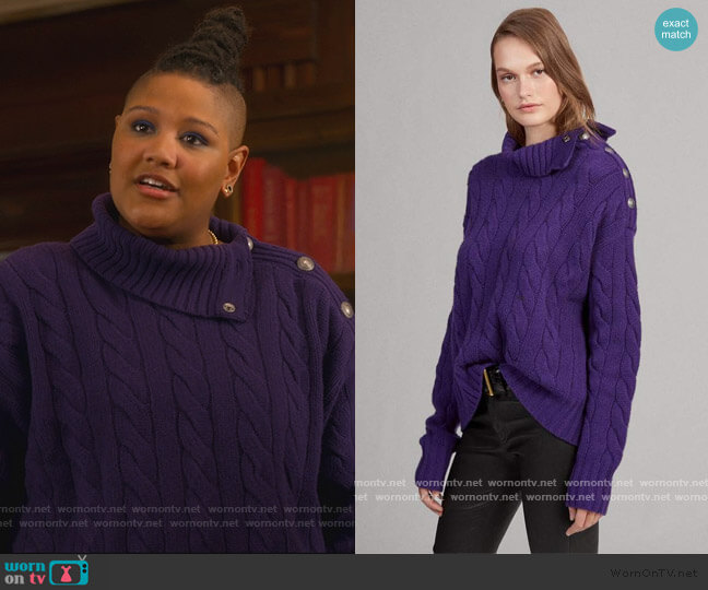 Cable-Knit Turtleneck Sweater by Ralph Lauren worn by Skye (Rahne Jones) on The Politician
