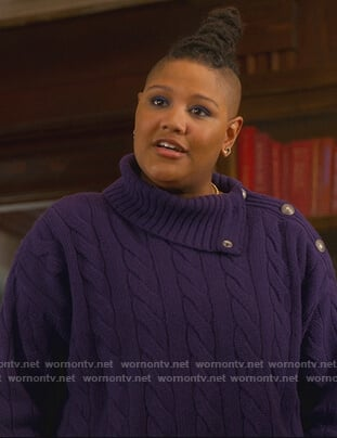 Sky's purple cable knit button embellished sweater on The Politician