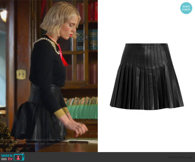 Pleated Lambskin Miniskirt by Ralph Lauren worn by Astrid (Lucy Boynton) on The Politician