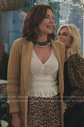 Luann's white smocked waist top on The Real Housewives of New York City