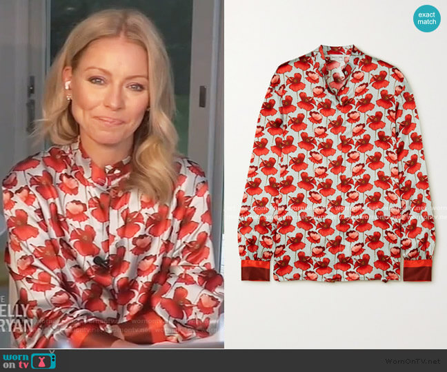 Savannah Floral-Print Silk-Satin Blouse by Raquel Diniz worn by Kelly Ripa  on Live with Kelly & Ryan