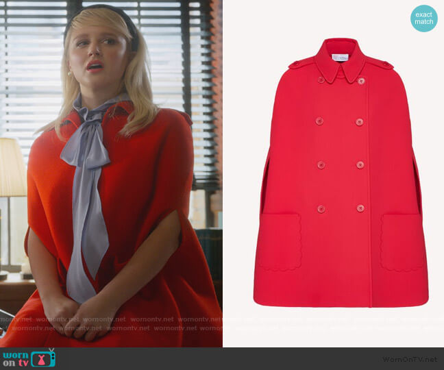 Scallop Detail Fused Tech Cape by Red Valentino worn by Alice (Julia Schlaepfer) on The Politician