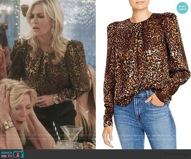 Chiara Burnout-Velvet Top by Ronny Kobo worn by Tinsley Mortimer  on The Real Housewives of New York City