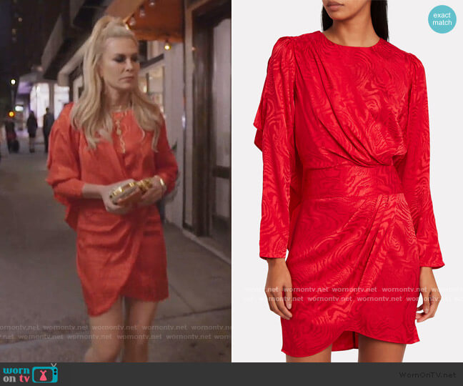 Shanaya Drape Moire Dress by Ronny Kobo worn by Tinsley Mortimer  on The Real Housewives of New York City