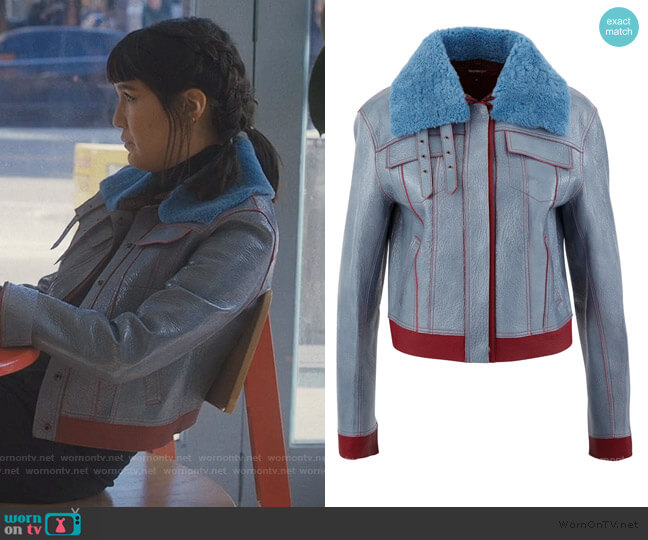 Gabbie leather jacket by Sies Marjan worn by Sara (Zoe Chao) on Love Life