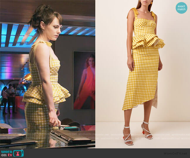 Junquillo Gingham Cotton-Poplin Peplum Top and Skirt by Silvia Tcherassi worn by Georgina Reilly on The Baker and the Beauty