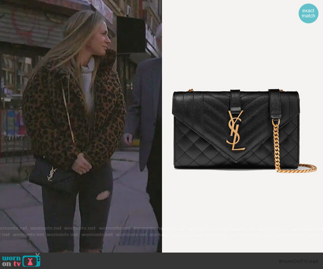 Envelope small quilted textured-leather shoulder bag by Saint Laurent worn by Leah McSweeney  on The Real Housewives of New York City