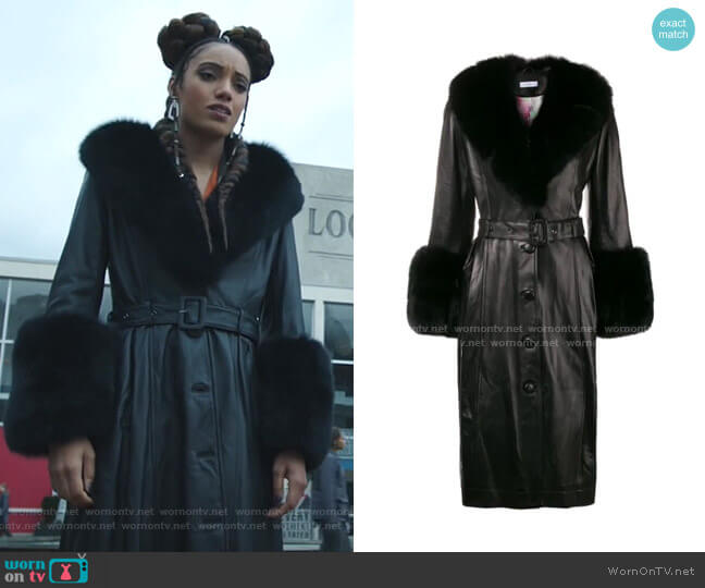 Foxy Belted Coat by Saks Potts worn by Charlie (Maisie Richardson-Sellers) on Legends of Tomorrow