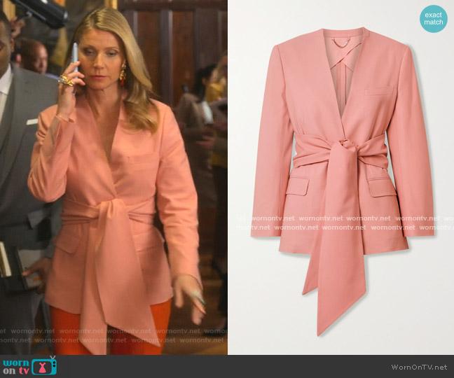 Belted Woven Blazer by Salvatore Ferragamo worn by Georgina Hobart (Gwyneth Paltrow) on The Politician