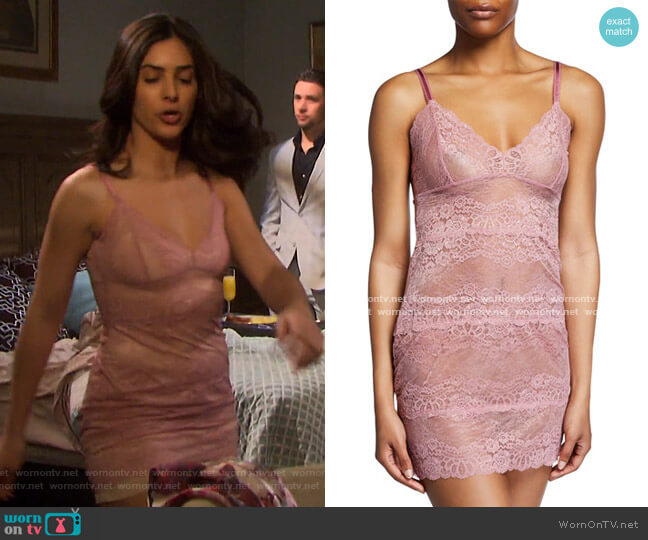 Boudoir Semisheer Lace Full Slip by Samantha Chang worn by Gabi Hernandez (Camila Banus) on Days of our Lives