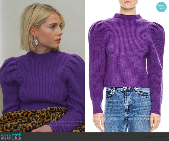 Hibou Sweater by Sandro worn by Astrid (Lucy Boynton) on The Politician