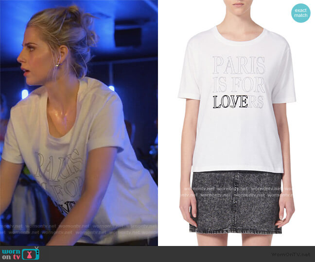 Pary Paris Is For Lovers Graphic Cotton Tee by Sandro worn by Astrid (Lucy Boynton) on The Politician