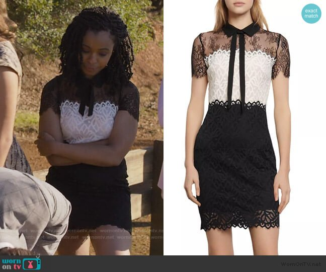 Rozen lace-panel Dress by Sandro worn by Ani (Grace Saif) on 13 Reasons Why