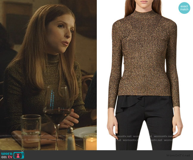 Shinny Mock Neck Sweater by Sandro worn by Darby (Anna Kendrick) on Love Life