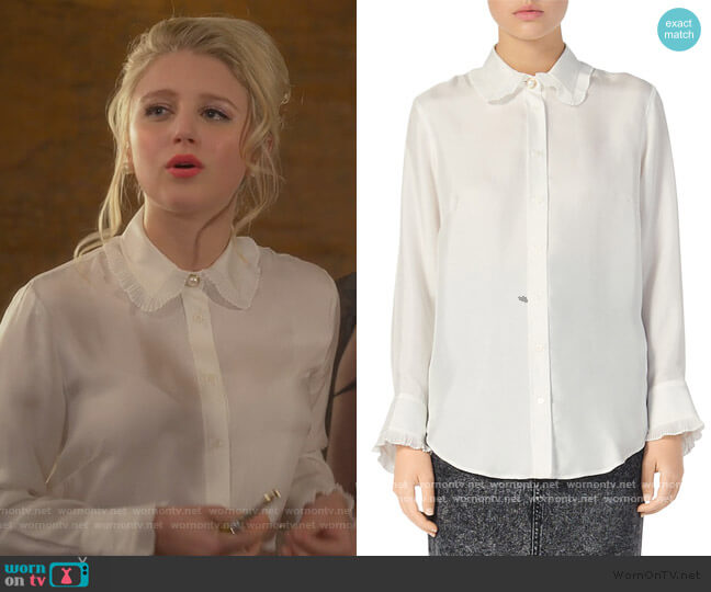 Taina Silk Blouse by Sandro worn by Alice (Julia Schlaepfer) on The Politician