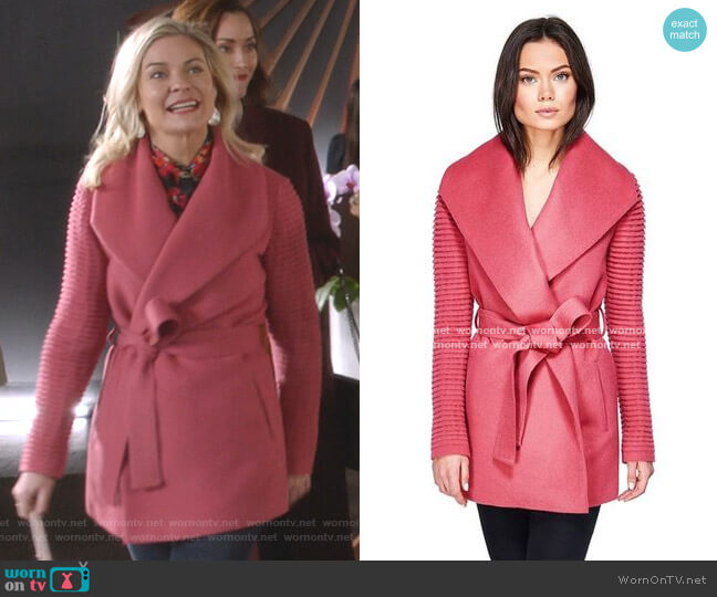 hawl Collar Wrap Coat with Ribbed Sleeves in Tourmaline Pink by Sentaler worn by Stephanie Borden (Kylee Evans) on Good Witch