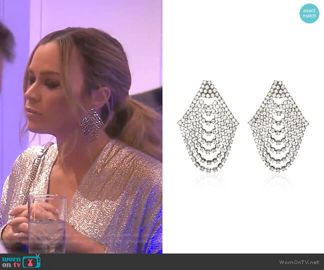 Seraphina Cascade Earrings by Jennifer Behr worn by Teddi Mellencamp Arroyave  on The Real Housewives of Beverly Hills