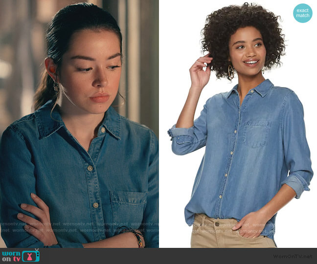 Everyday Chambray Shirt by Sonoma Goods For Life worn by Annie Sullivan (Anneliese Judge) on Sweet Magnolias