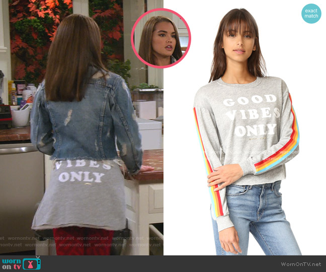 Good Vibes Only Crop Sweatshirt by Spiritual Gangster worn by Alexa Mendoza (Paris Berelc) on Alexa & Katie