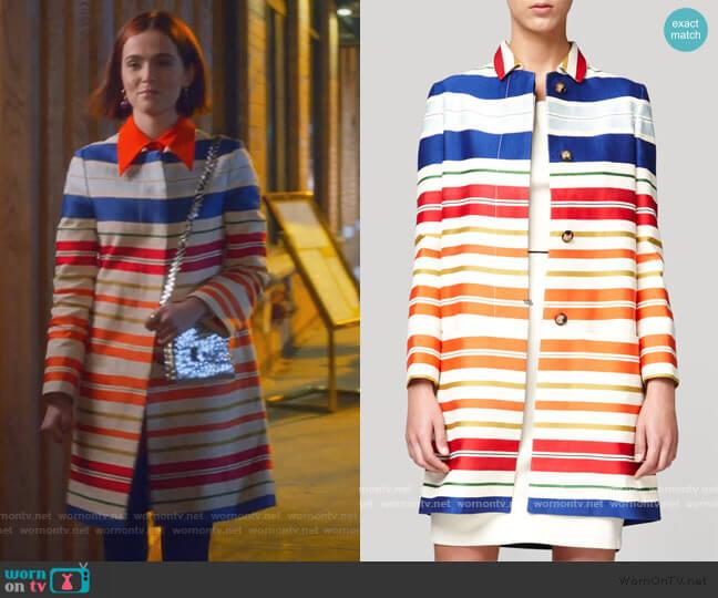 Deckchair Stripe Coat by Stella McCartney worn by Infinity Jackson (Zoey Deutch) on The Politician