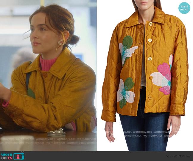 Aida Miki Appliqué Quilted Jacket by Stine Goya worn by Infinity Jackson (Zoey Deutch) on The Politician