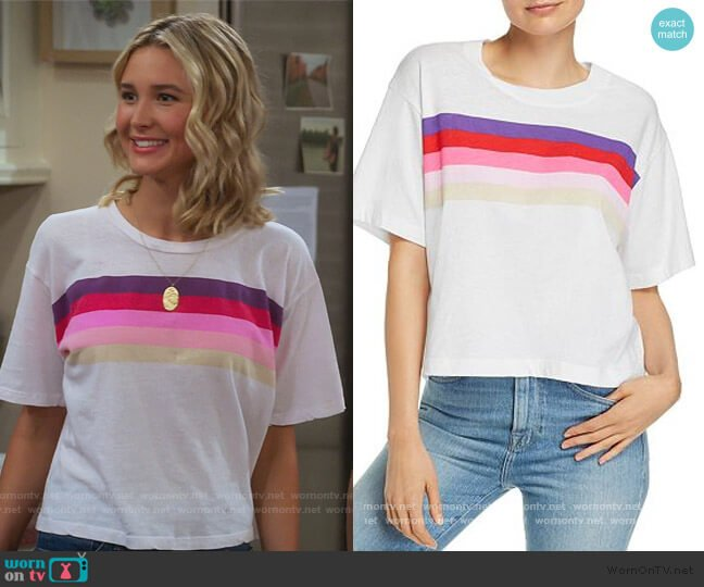 Rainbow-Stripe Boxy Tee by Sundry worn by Katie Cooper (Isabel May) on Alexa & Katie