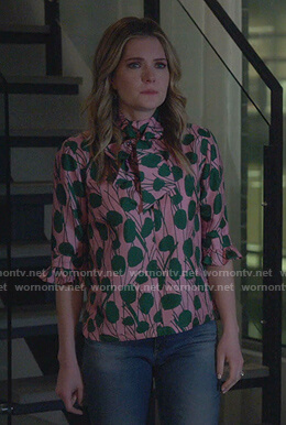 Sutton's pink and green print tie neck top on The Bold Type