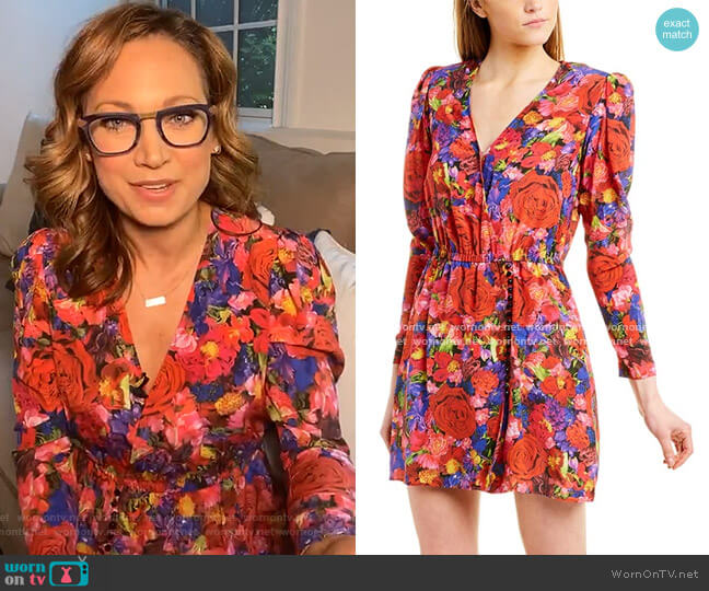 Summer Night Silk Mini Dress by The Kooples worn by Ginger Zee  on Good Morning America