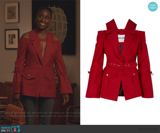 Bare Shoulder Jacket by Thebe Magugu worn by Issa Dee (Issa Rae) on Insecure