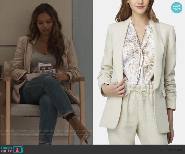 Ruched-Sleeve Shawl-Lapel Jacket by Tahari ASL worn by Jessica Davis (Alisha Boe) on 13 Reasons Why