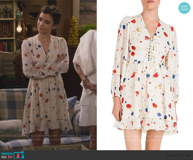 Daydream Flowers Lace-Up Floral Silk Dress by The Kooples worn by Ramona Gibbler (Soni Nicole Bringas) on Fuller House