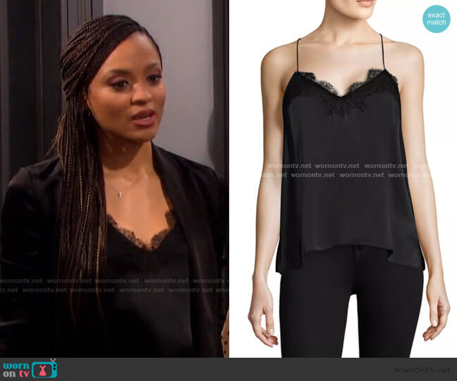 The Racer Top in Black by Cami NYC worn by Lani Price (Sal Stowers) on Days of our Lives