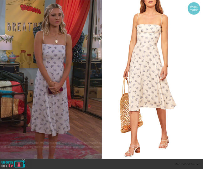 Vollare Print Sundress by Reformation worn by Katie Cooper (Isabel May) on Alexa & Katie