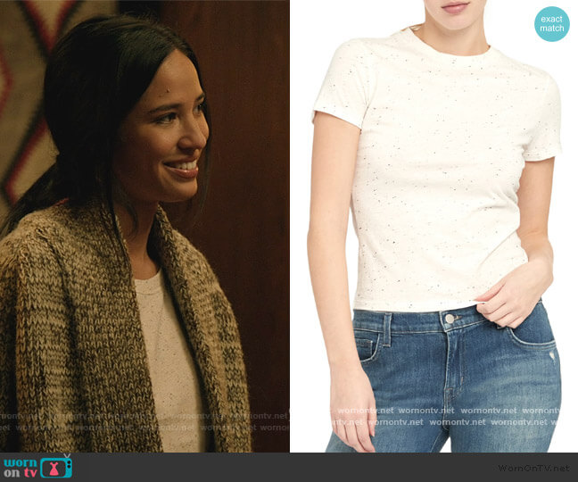 Speckled Tiny T-Shirt by Theory worn by Monica Dutton (Kelsey Asbille) on Yellowstone
