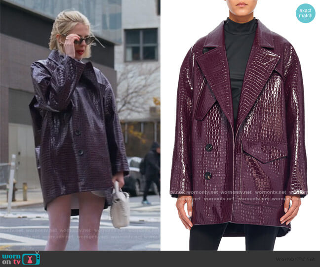 Crocodile-Embossed Oversized Patent Coat by Tibi worn by Astrid (Lucy Boynton) on The Politician