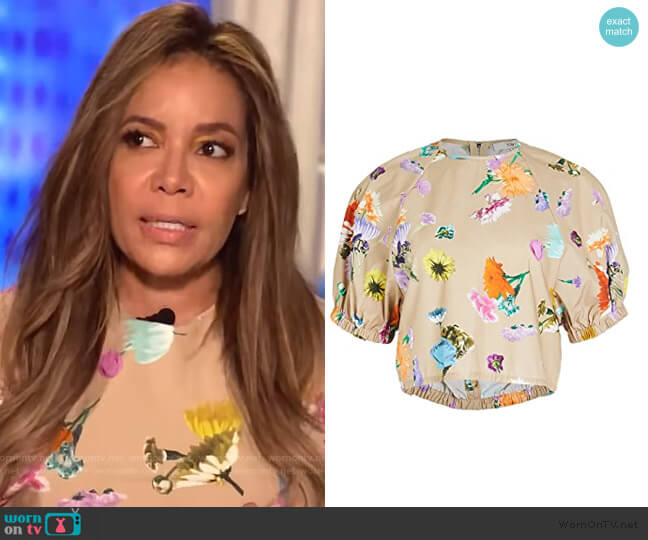 Shirred Sleeve Top by Tibi worn by Sunny Hostin  on The View