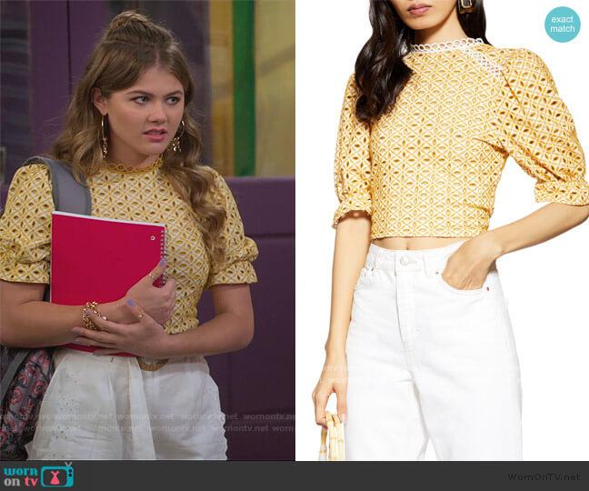 Broderie Tie Back Top by Topshop worn by Gwenny (Kerri Medders) on Alexa & Katie