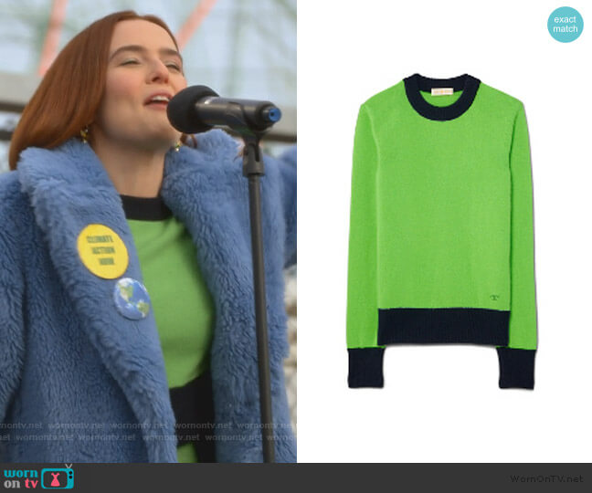 Cashmere Color-Block Sweater by Tory Burch worn by Infinity Jackson (Zoey Deutch) on The Politician