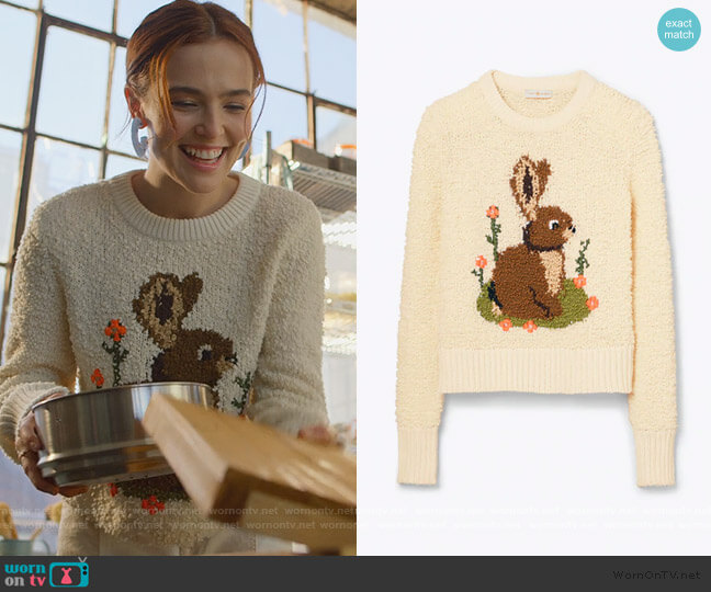 Bunny Intarsia Sweater by Tory Burch worn by Infinity Jackson (Zoey Deutch) on The Politician