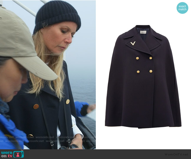 Double-breasted wool cape by Valentino worn by Georgina Hobart (Gwyneth Paltrow) on The Politician